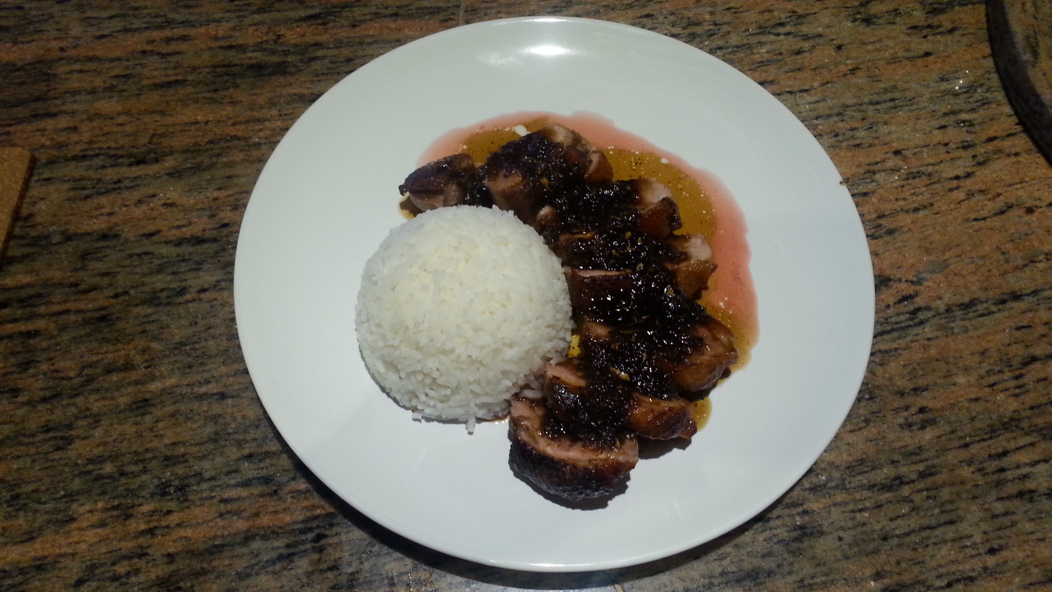 Duck Steak with honey ginger soy sauce