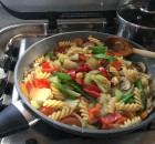 Vegetarian warm pasta salad.
