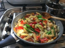 Vegetarian warm pasta salad.
